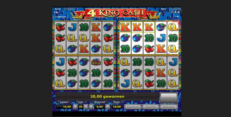 4King Cash Startbildschirm