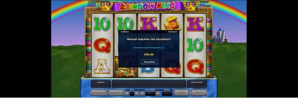 Rainbow King so machst du die Einzahlung vor jeden neuen Slot
