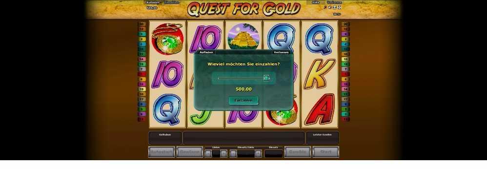 Quest for Gold - die Einzahlung