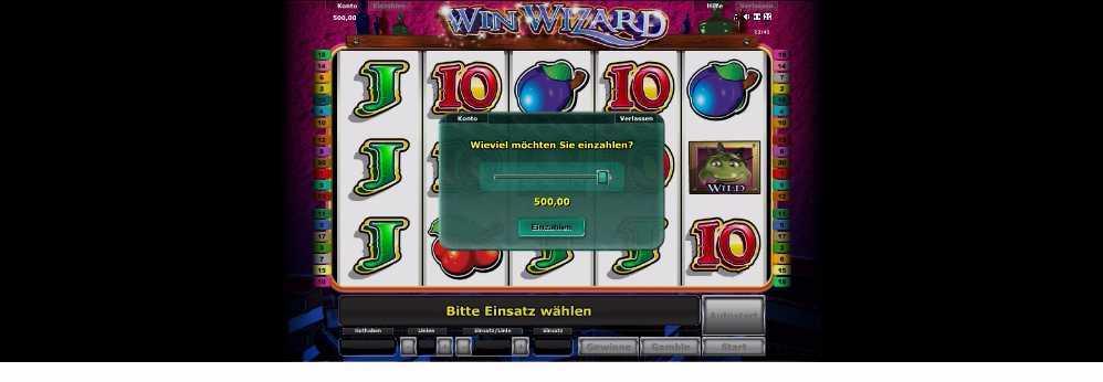 Einzahlung bei WinWizard
