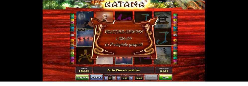 Katana Featuregewinn durch Freispiele