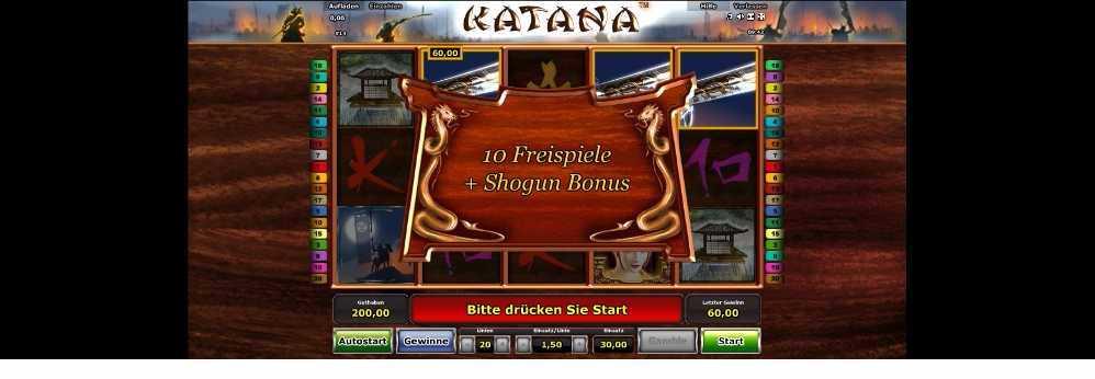Katana Freispiele und Shogun Bonus