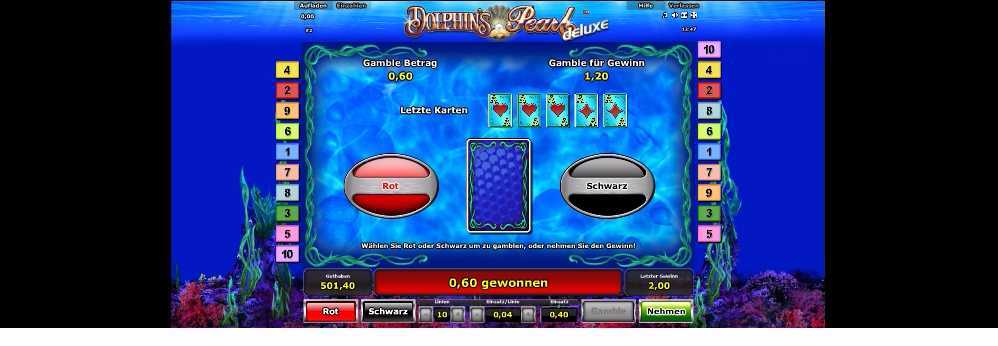 Kartengamble Funktion bei Dolphins Pearl