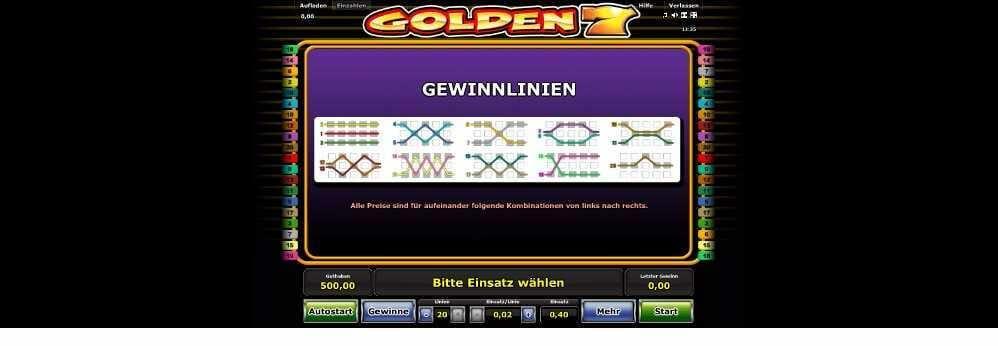 Gewinnlinien bei Golden 7 diese möglichkeiten gibt es