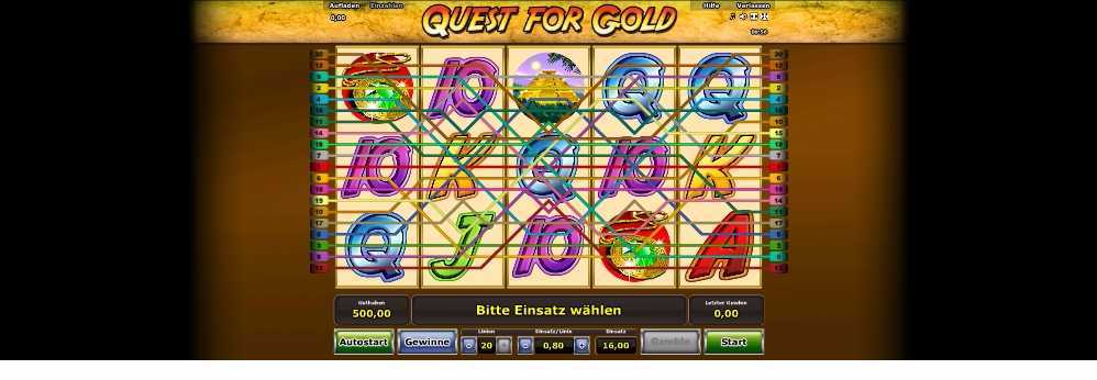 Quest for Gold Gewinnlinien