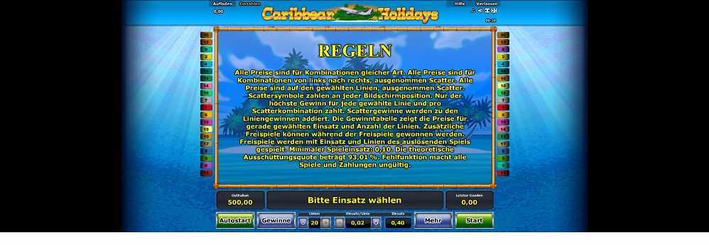 Die Novoline Regeln bei Caribbean Holidays