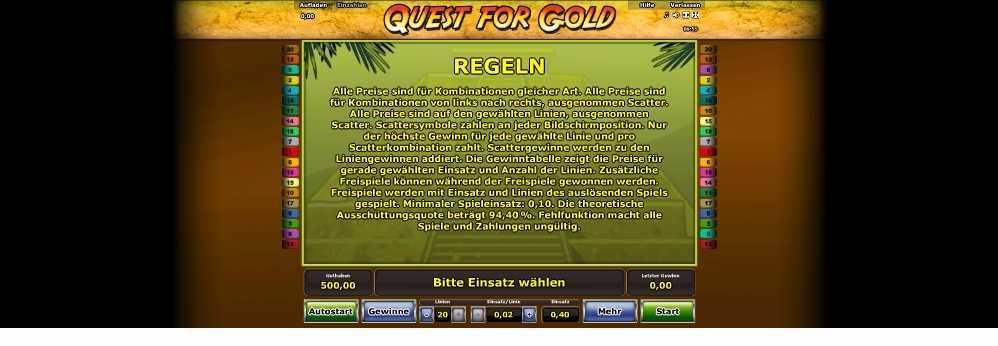 Checke die Regeln für Quest for Gold hier ab