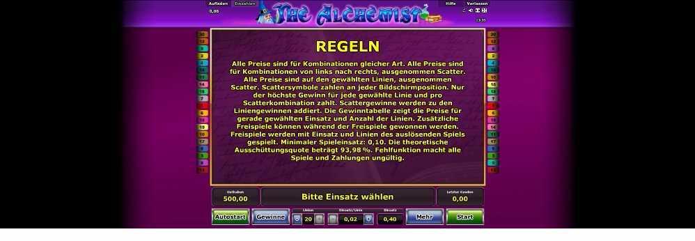Die Regeln bei The Alchemist