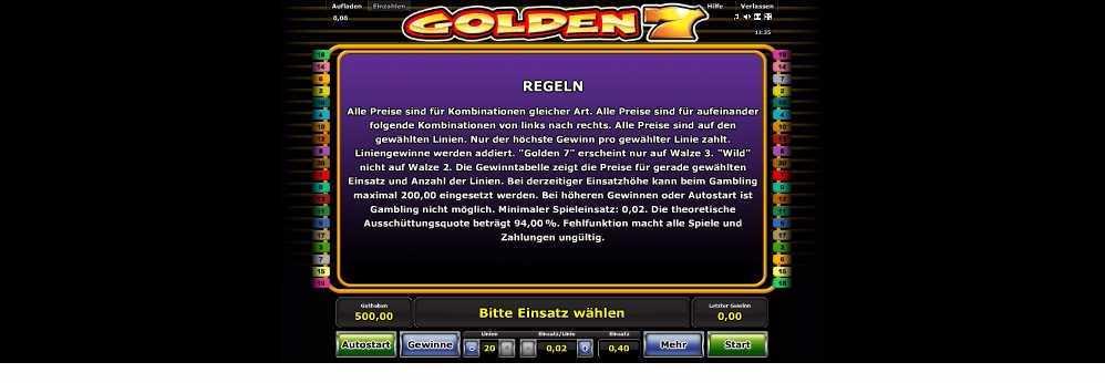 Golden 7 lese die Spielregeln