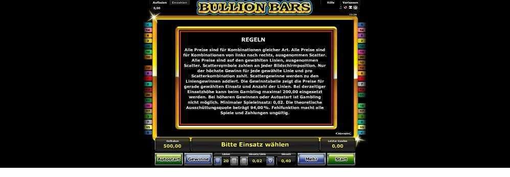 Spielregeln bei Bullion Bars