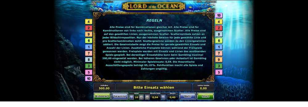 Die Regeln bei Lord of the Ocean genau erklärt