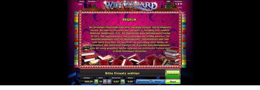 Die Regeln vo Win Wizard