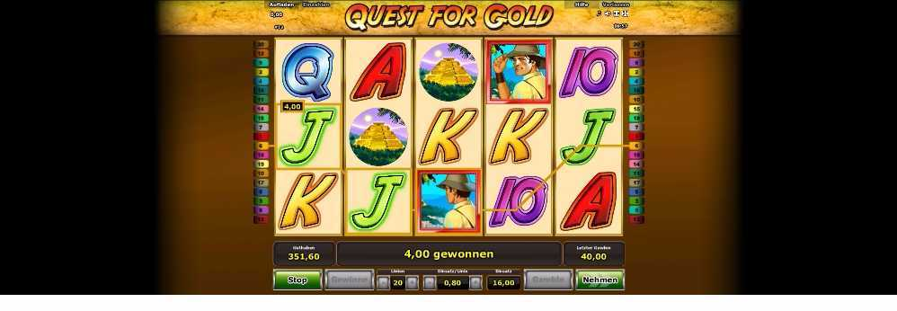Bei Quest for Gold 4 Euro gewonnen