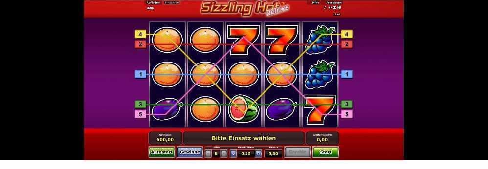 Gewinnlinien bei Sizzling Hot
